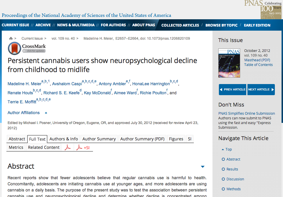Analyse d'une étude sur le ralentissement neuropsychologique de l'enfance à la quarantaine chez des usagers réguliers de cannabis